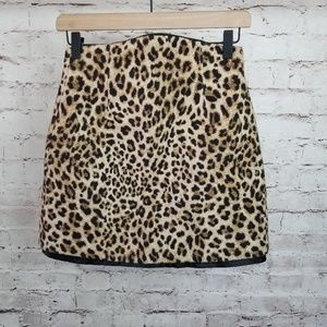 ZARA Basic Leopard Animal Print Mini Skirt